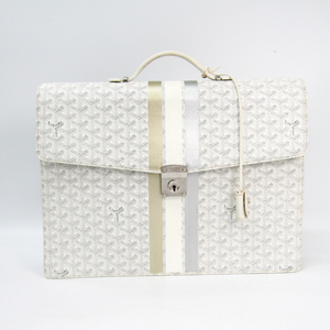 Goyard Chypre AMACHYPRE2S Men's Leather,Canvas Briefcase White