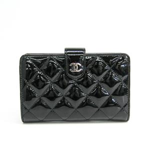シャネル(Chanel) マトラッセ A48667 レディース  エナメルレザー 中財布(二つ折り) ブラック