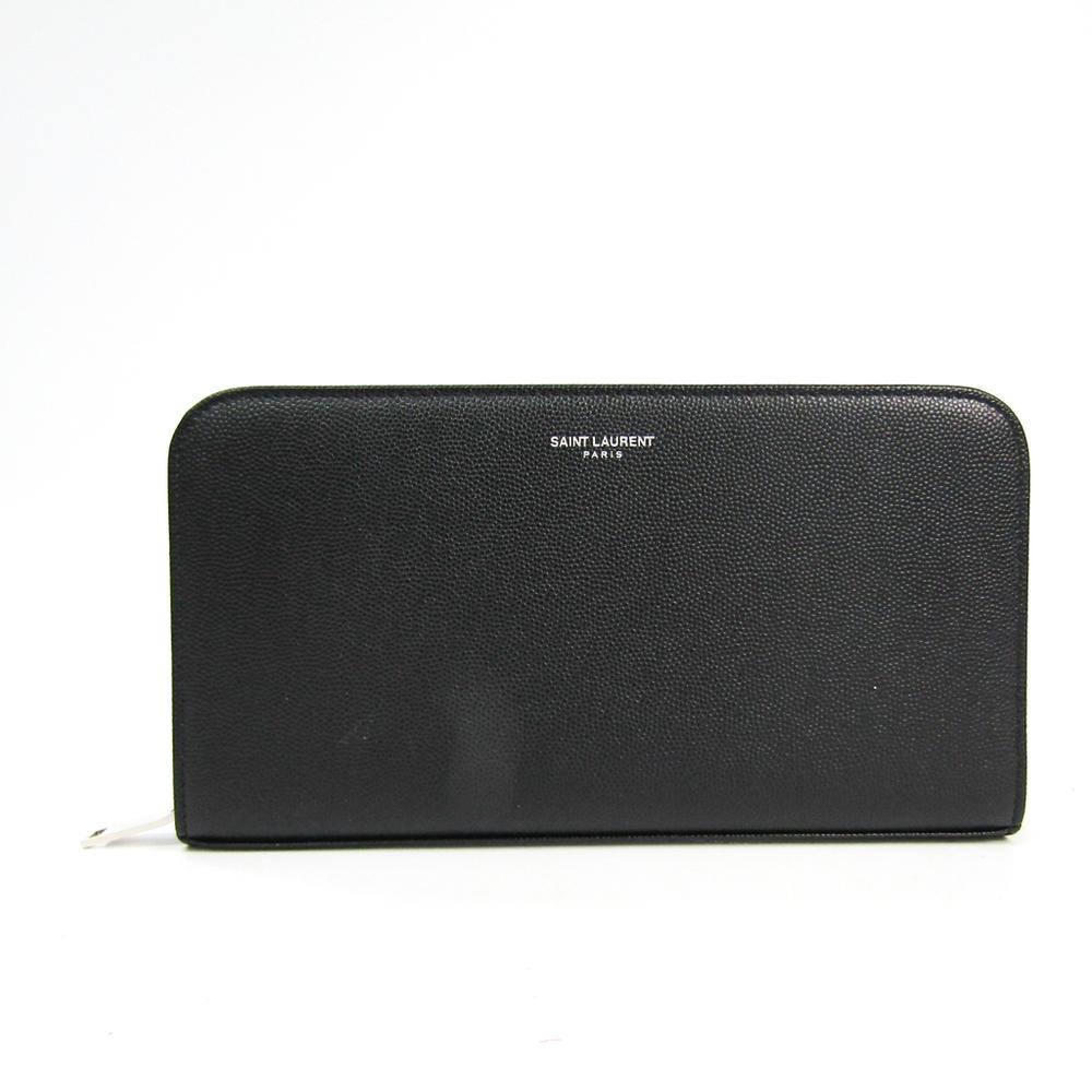 サン・ローラン(Saint Laurent) 328558 ユニセックス  型押しカーフ 長財布(二つ折り) ブラック