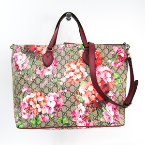 Gucci GG Blooms GG Supreme Flower 453705 Women's PVC,Leather Tote Bag Bordeaux,GG Beige,Pink