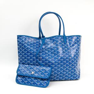 Goyard Saint Louis Saint Louis PM Leather,Canvas Tote Bag Blue