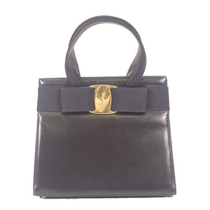 Salvatore Ferragamo Vara Hand Bag Women's Leather Handbag Navy