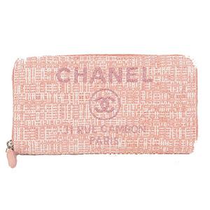 シャネル 二つ折り長財布 ドーヴィル キャンバス ピンク