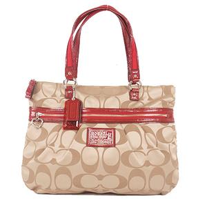 Coach Signature Handbag F20026 Women's Canvas Handbag,Shoulder Bag Khaki,Red