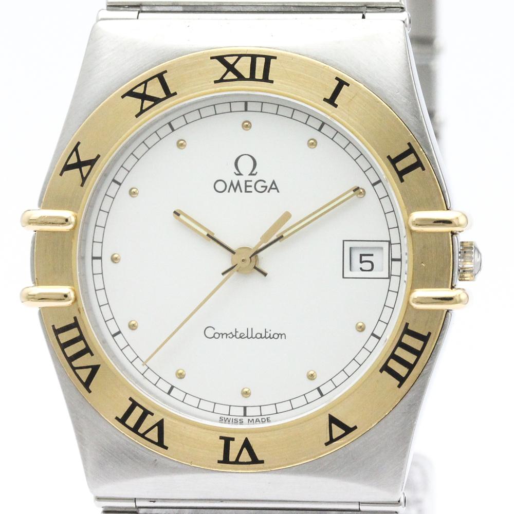 Omega Quartz Stainless Steel Yellow Gold 18k Men S Dress Watch 396 1070 Elady Com