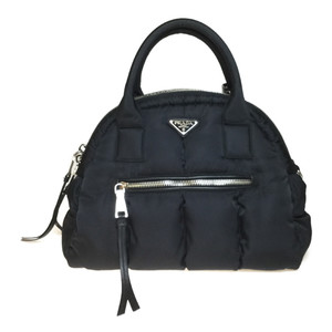 Auth Prada Nylon Handbag Tote Bag Black