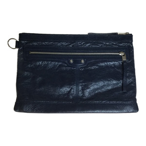 Auth Balenciaga Classic Clip M 273022 Leather Clutch Bag Navy