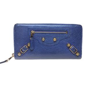 バレンシアガ(Balenciaga) ジャイアント 253053 コンチネンタルジップ レザー 長財布 ブルー