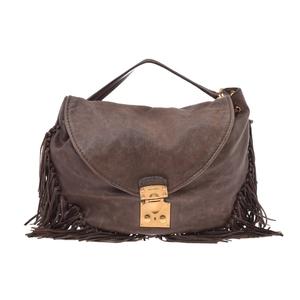ミュウミュウ(Miu Miu) 2way semi shoulder bag レザー バッグ ブラウン