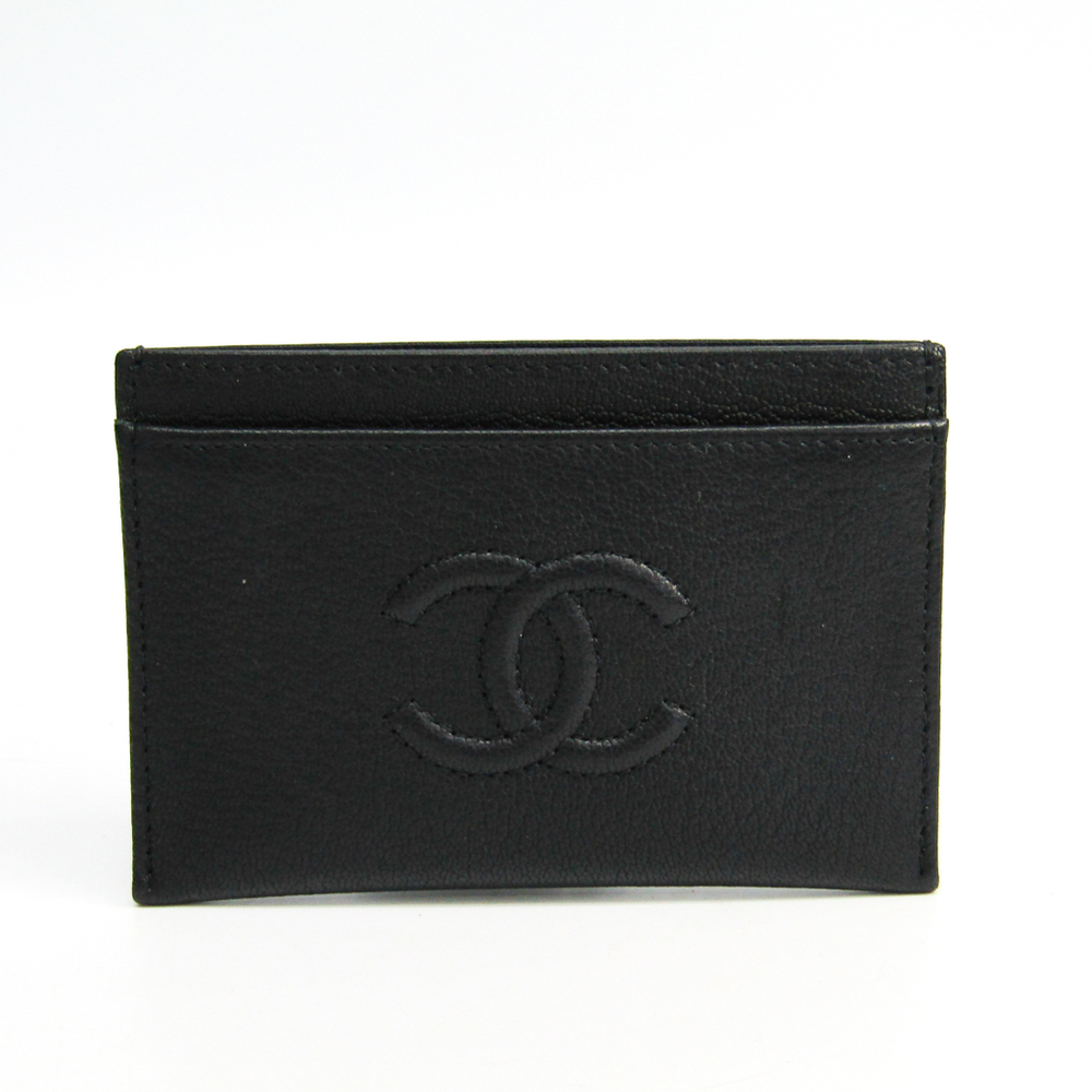 シャネル(Chanel) レザー カードケース ブラック