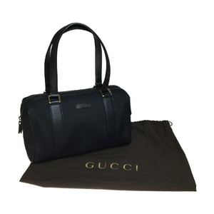 Auth Gucci 257289 Canvas Boston Bag Handbag Black
