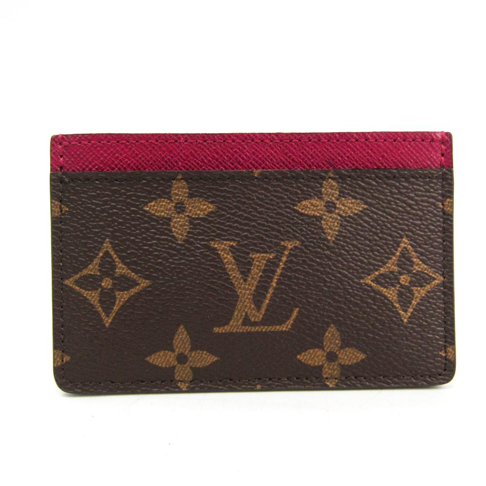 Louis Vuitton Monogram Porte Cartes Simple M60703 Monogram Card Case Fuchsia