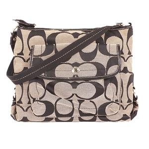 Coach Signature Shoulder Bag Women's Canvas Shoulder Bag Gray