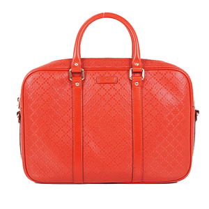 Auth Gucci Diamante Briefcase 344357 Leather Red
