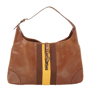 Auth Gucci Jackie Shoulder Bag 001.4075 Leather Brown