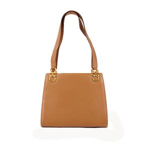 Salvatore Ferragamo Gancini  Shoulder Bag Women's Leather Handbag,Shoulder Bag Brown Gold
