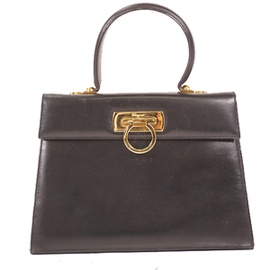 Salvatore Ferragamo Gancini HandBag Women's Leather Handbag Black