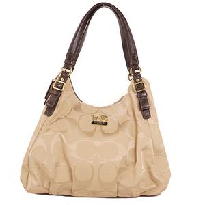 Coach Signature Shoulder Bag 18762 Women's Canvas Handbag,Shoulder Bag Beige