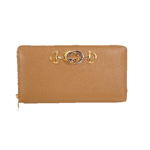 Auth Gucci Zumi Long Wallet 570661 Leather Brown