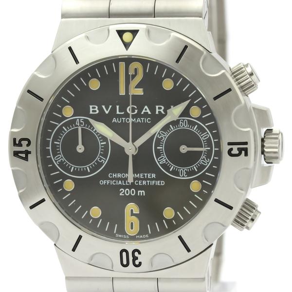 【BVLGARI】ブルガリ ディアゴノ スクーバ クロノグラフ ステンレススチール 自動巻き メンズ 時計 SCB38S