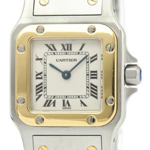 CARTIER Santos Galbee 18K Gold Steel Quartz Ladies Watch