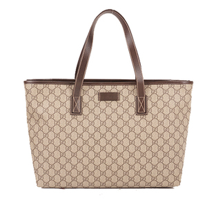 Auth Gucci Tote Bag GG Supreme 21137  Brown