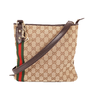 Auth Gucci Shoulder Bag Sherry Line 14388 Beige Brown