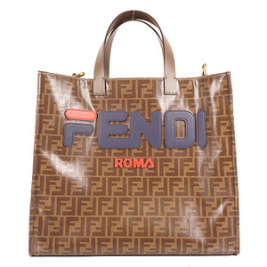 Auth Fendi Zucca 8BH357 Totebag Fila Collaboration Brown