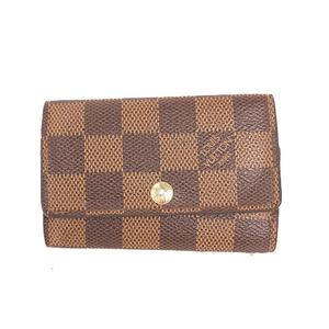 Louis Vuitton Damier N62630 Unisex,Women,Men Leather Key Case Brown,Ebene