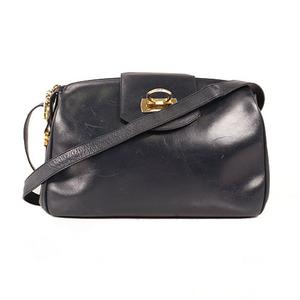 Auth Salvatore Ferragamo Gancini  Shoulder Bag Leather Navy
