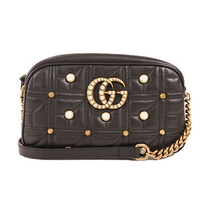 Auth Gucci Shoulder Bag GGmarmont Shoulder Black