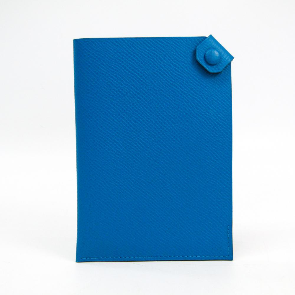 Hermes Tarmac PM Epsom Leather Passport Cover Blue