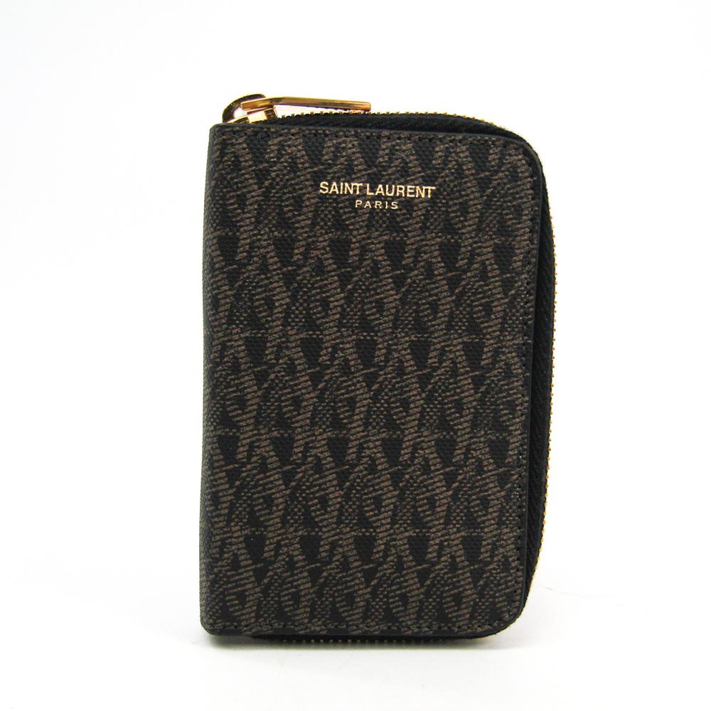 Saint Laurent 440914 Men's Leather PVC Key Case Black,Brown