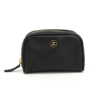 Chanel Coco Button Women's Leather Pouch Black
