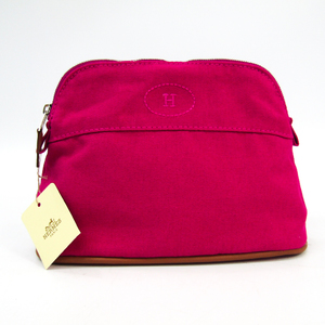 Hermes Bolide Mini 101629M-07 Women's Cotton,Leather Pouch Pink