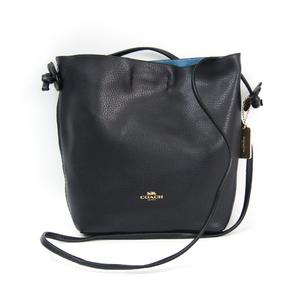 Coach F58661 Women's Leather Shoulder Bag Navy