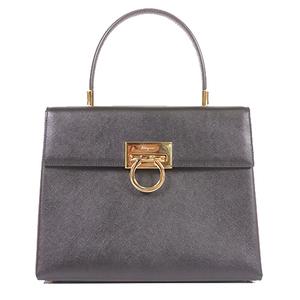 Salvatore Ferragamo Gancini 2Way Bag Women's Leather Handbag,Shoulder Bag Black