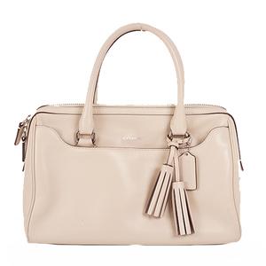 Coach Signature Hang Bag Women's Leather Boston Bag,Handbag Ivory