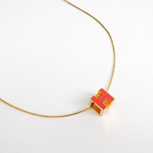 エルメス(Hermes) カージュドアッシュ メタル レディース カジュアル ネックレス (ゴールド,ピンク)