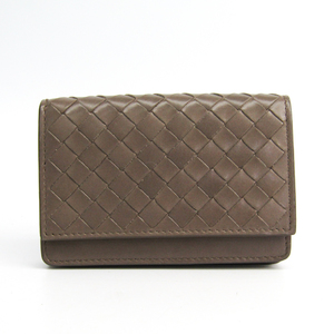 Bottega Veneta Intrecciato 174646 Leather Business Card Case Beige Brown