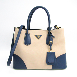 Prada Double Bag BN2775 Women's Canapa,Saffiano Tote Bag Blue,Ivory