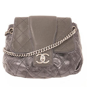 Chanel Wild Stitch Chain Shoulder Women's Caviar Leather Shoulder Bag Black