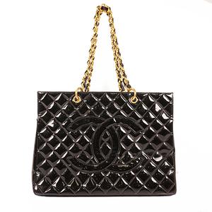 Chanel Matelasse Chain Tote Bag Women's Patent Leather Handbag,Shoulder Bag,Tote Bag Black