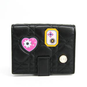 クリスチャン・ディオール(Christian Dior) ワッペン レディース  ラムスキン 財布(二つ折り) ブラック