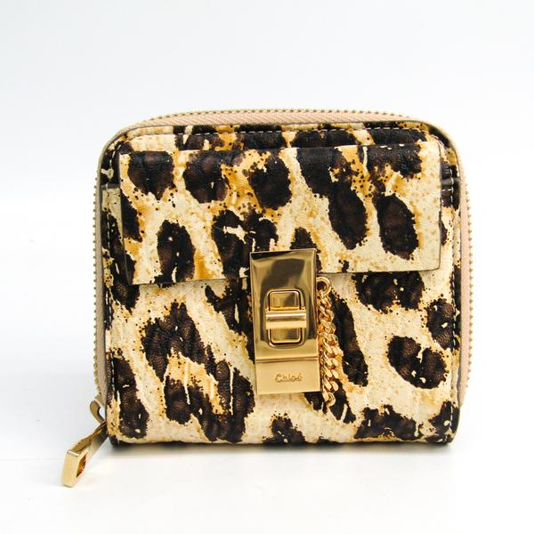 クロエ(Chloé) ドリュー 3P0782 レディース  カーフスキン 財布(二つ折り) ベージュ,ブラック