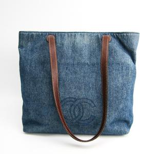 シャネル(Chanel) デニム,レザー トートバッグ ブルー,ブラウン