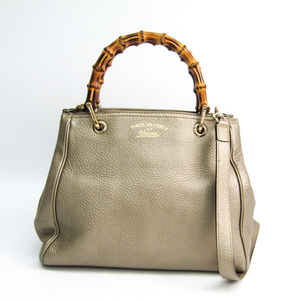 Gucci 336032 Bamboo Shopper Medium Women's Leather,Bamboo Handbag Beige Brown