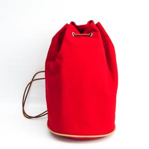 Hermes Polochon Mimil Cotton Canvas Shoulder Bag Red
