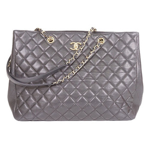 Auth Chanel Caviar Skin Chain Caviar Leather Black