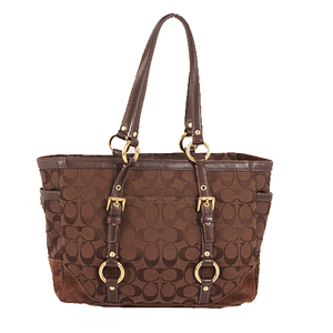 Coach Signature 10384 Canvas,Leather Tote Bag Brown